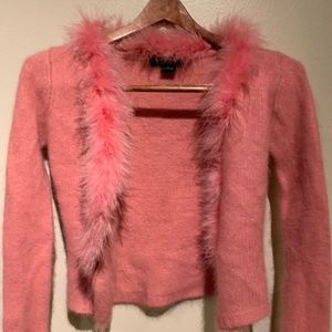 Betsey Johnson Pink mohair cropped sweater